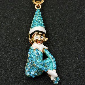 Santa's Helper Crystal Elf on the Shelf Necklace